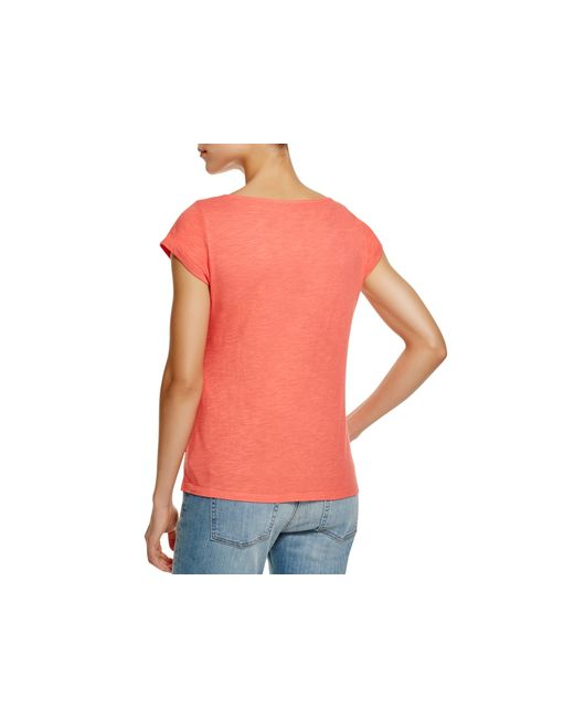 Eileen fisher organic cotton boat neck tee in pink flora for Eileen fisher organic cotton t shirt