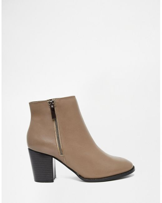 faith sandi taupe leather zip heeled boots in brown taupe