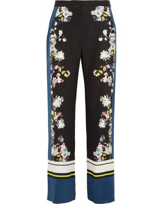 Erdem   Black Taffy Eames Garden-print Silk Trousers   Lyst