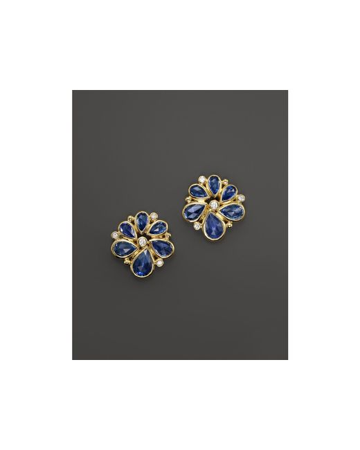 Temple St. Clair | 18k Gold Spiral Cluster Earrings With Rose Cut Blue Sapphire And Diamond | Lyst