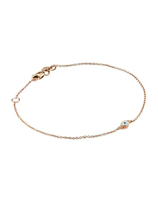 Sydney Evan | Metallic Rose Gold Mini Enamel Evil Eye Bracelet With Bezel-set Diamond | Lyst