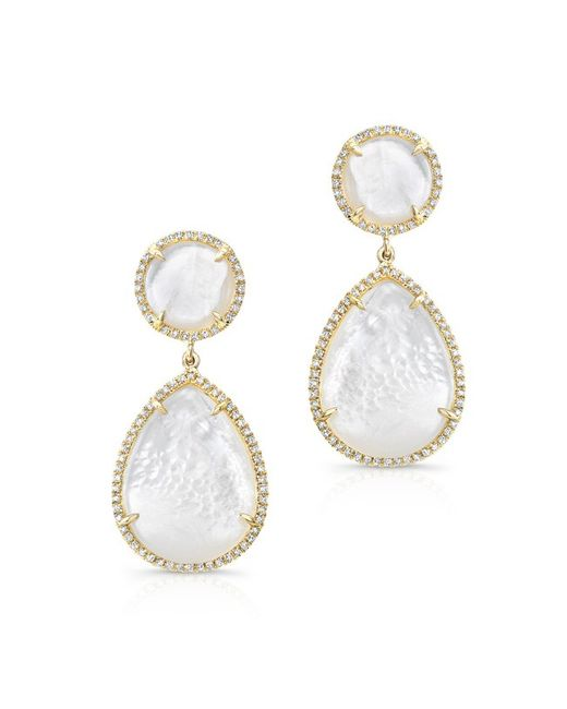 Anne Sisteron | 14kt Yellow Gold Mother Of Pearl Cloud Earrings | Lyst