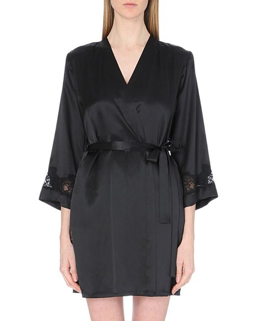 Nk Imode | Black Morgan Stretch-lace And Silk-satin Robe | Lyst