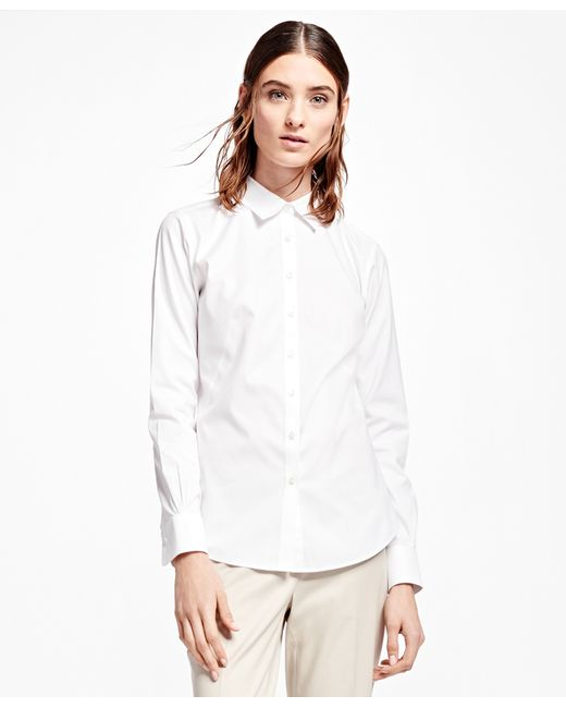 brooks brothers non iron fitted dress shirt in white lyst