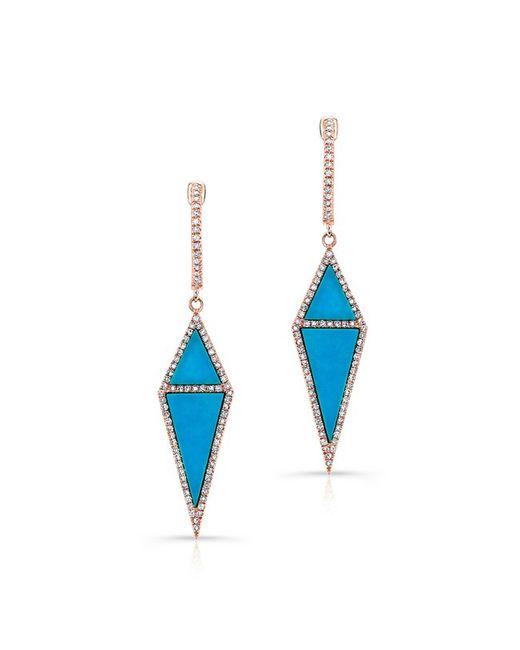 Anne Sisteron   Metallic 14kt Rose Gold Turquoise Diamond Shield Earrings   Lyst