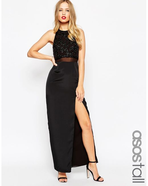 ASOS | Column Maxi Dress With Embellished Crop Top - Black | Lyst