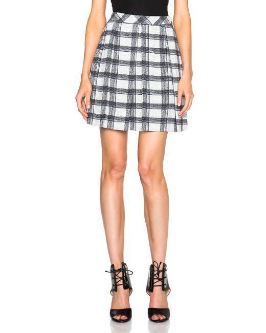 proenza schouler small plaid pleated skirt in black black