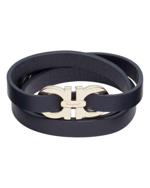 Ferragamo | Black Double Gancini Triple Wrap Oro Bracelet | Lyst