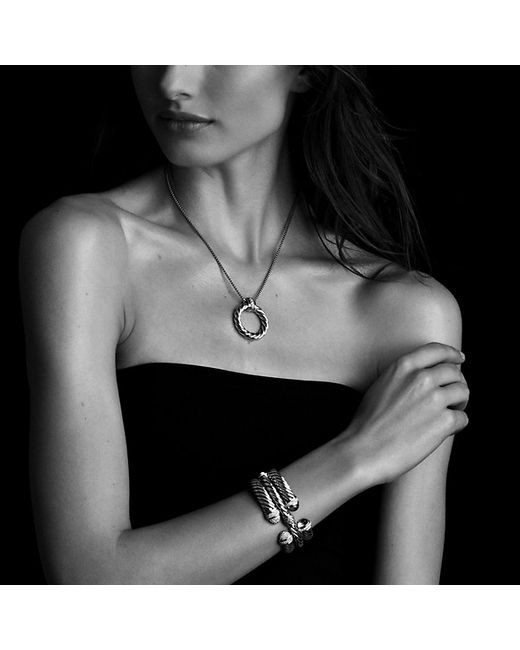 David Yurman   Metallic Sculpted Cable Bracelet With Diamonds, 5mm   Lyst