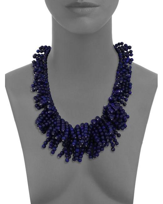 Nest   Blue Lapis Beaded Fringe Bib Necklace   Lyst