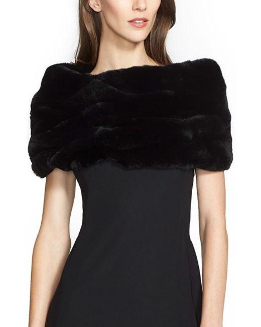 Armani | Black Genuine Rabbit Fur Collar | Lyst