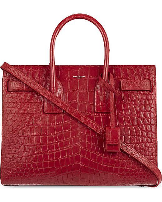 Saint Laurent | Red Mock-croc Leather Tote | Lyst