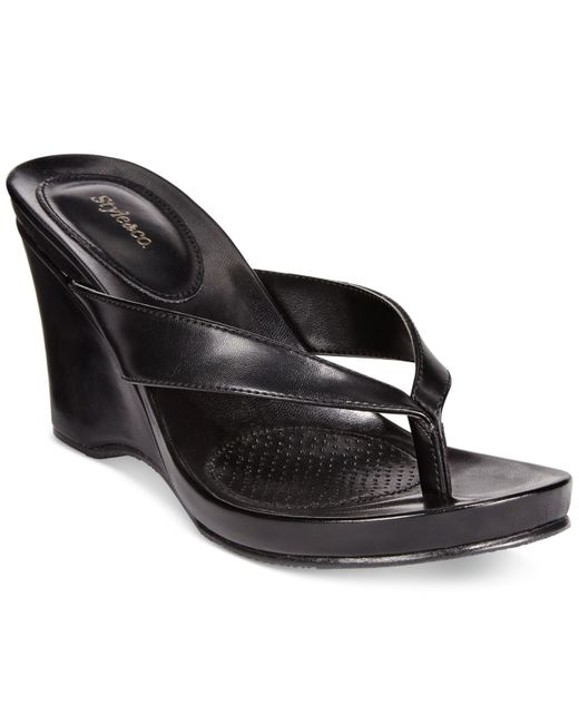 Style & Co. | Black Chicklet Wedge Thong Sandals, Only At Macy's | Lyst