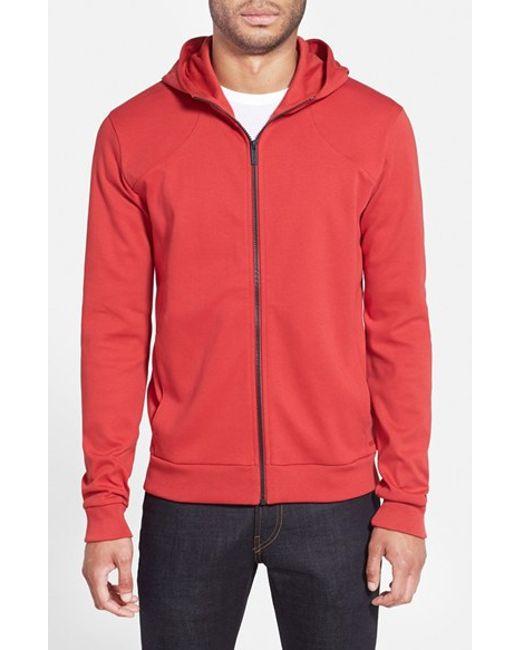 HUGO | Red Cotton Jersey Full Zip Hoodie for Men | Lyst