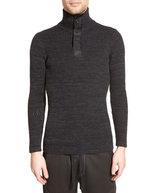 g star raw 39 effo 39 rib turtleneck sweater in black for men. Black Bedroom Furniture Sets. Home Design Ideas