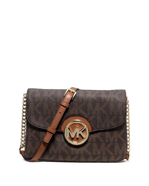 MICHAEL Michael Kors | Brown Fulton Monogram Crossbody Bag | Lyst