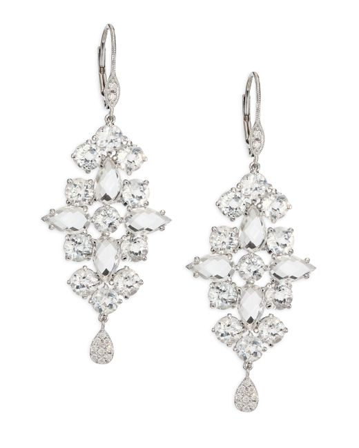 Meira T | Metallic Diamond, White Topaz & 14k White Gold Drop Earrings | Lyst