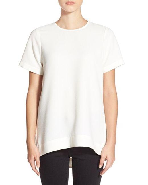 Madewell | White Pleated Short Sleeve Tee | Lyst