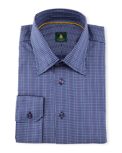 Robert talbott mini check woven dress shirt in blue for for Robert talbott shirts sale