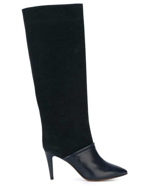 l autre chose pointed toe leather and suede knee high