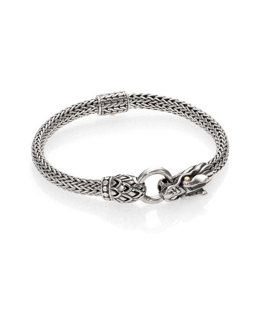 John Hardy | Metallic Naga 18k Yellow Gold & Sterling Silver Dragon Station Chain Bracelet | Lyst