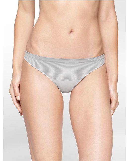 Calvin Klein | Gray Underwear Seamless Illusions Stripe Print Thong | Lyst