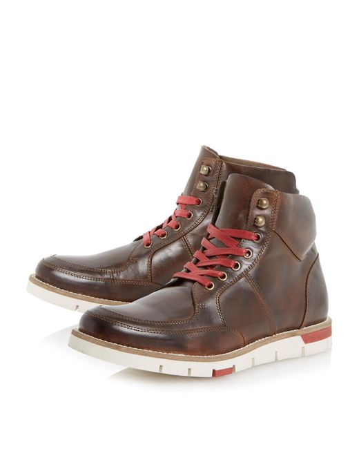 bertie cedric wedge sole colour pop boots in brown for