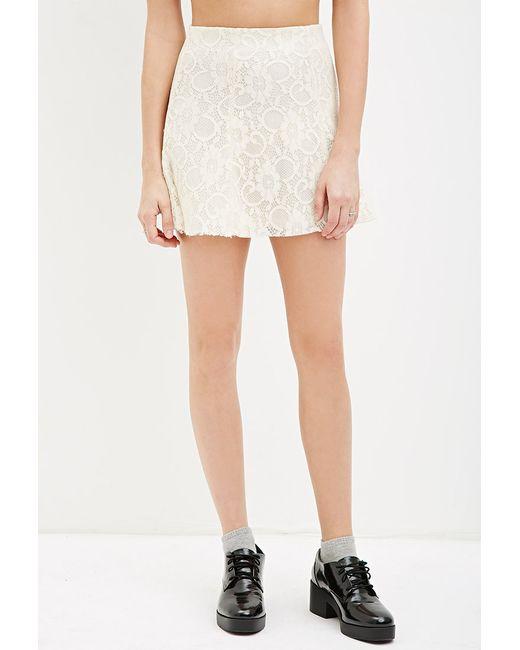 Forever 21   White Floral Lace Skater Skirt   Lyst