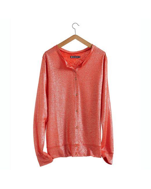 Petit Bateau | Orange Women's Linen And Lacquered Linen Cardigan. | Lyst