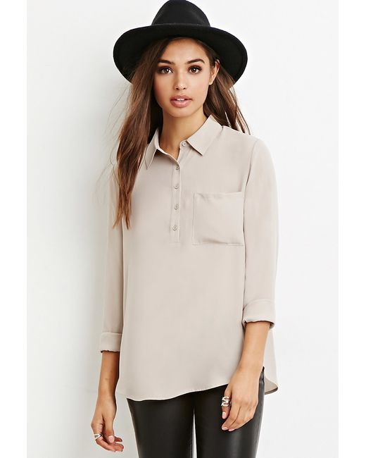 Forever 21 | Natural Boxy Pocket Shirt | Lyst