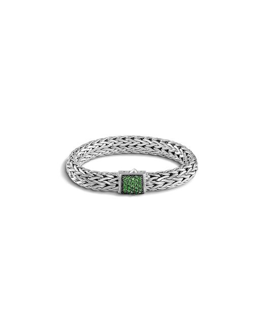 John Hardy | Green Classic Chain Sterling Silver Large Bracelet With Tsavorite Clasp | Lyst