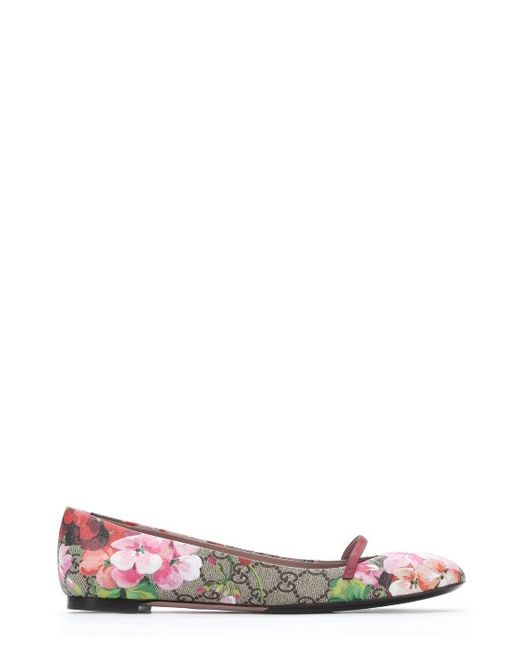 gucci pink bloom print gg supreme canvas mary jane ballerina flats in pink lyst. Black Bedroom Furniture Sets. Home Design Ideas
