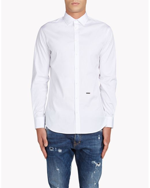 DSquared² | White Small Spread Collar Mb Shirt for Men | Lyst