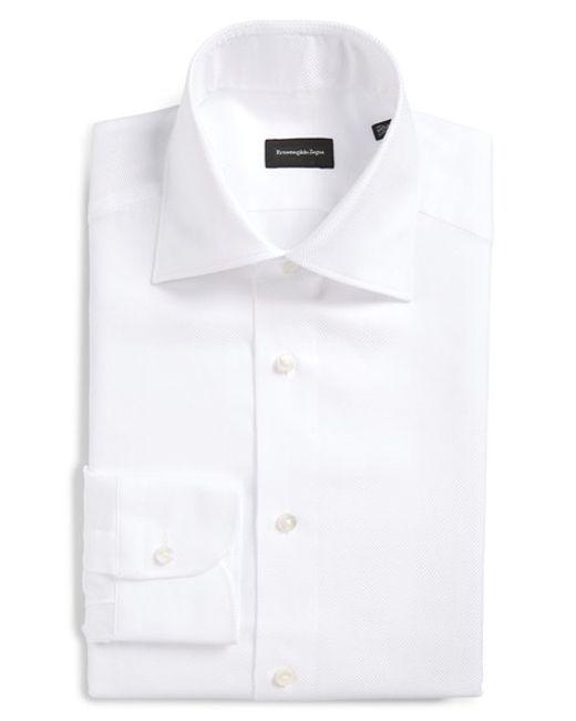 Ermenegildo zegna regular fit herringbone dress shirt in for White herringbone dress shirt