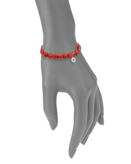 Sydney Evan | Metallic Bright Coral Bracelet | Lyst