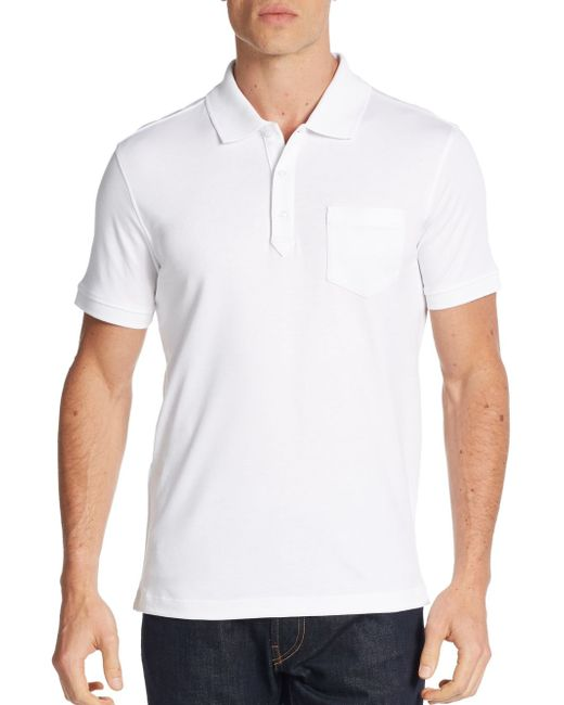 Saks Fifth Avenue   White Pocket Cotton Polo Shirt for Men   Lyst