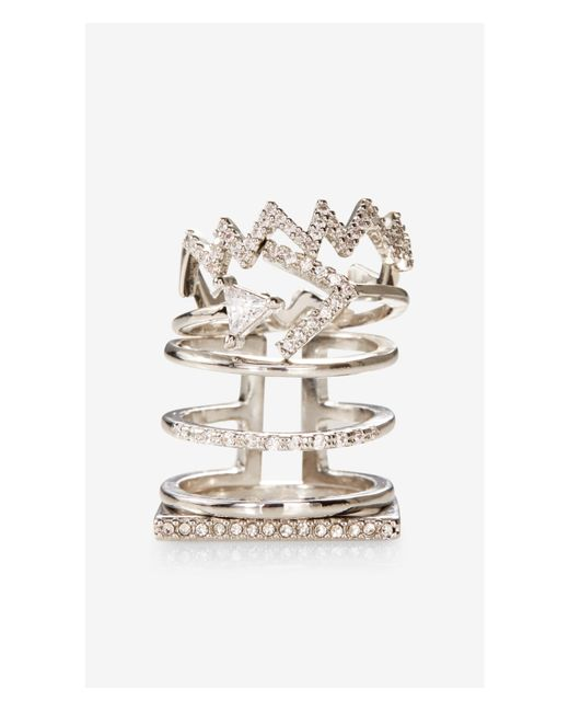 Express | Metallic Set Of Four Pave And Rhinestone Rings | Lyst