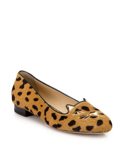 Charlotte olympia Leopard-print Calf Hair Kitty Flats in ...