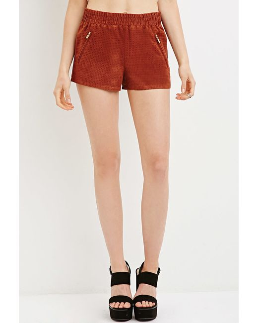 Forever 21 | Brown Perforated Faux Suede Shorts | Lyst
