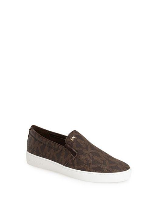 MICHAEL Michael Kors | Brown Keaton Slip-on Logo Canvas Sneakers | Lyst