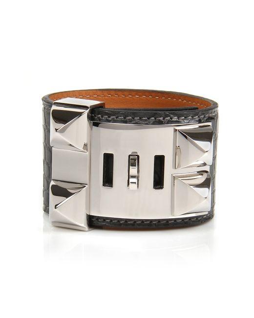 Hermès | Gray Graphite Matte Alligator Collier De Chien Bracelet | Lyst