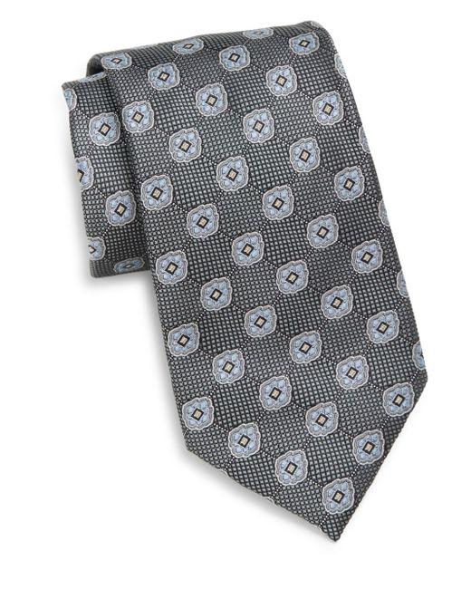 Saks Fifth Avenue | Black Floral Medallion Silk Tie for Men | Lyst