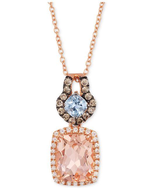 Le Vian | Blue Peach Morganite (1-1/2 Ct. T.w.) And Diamond (1/4 Ct. T.w.) Pendant Necklace In 14k Rose Gold | Lyst