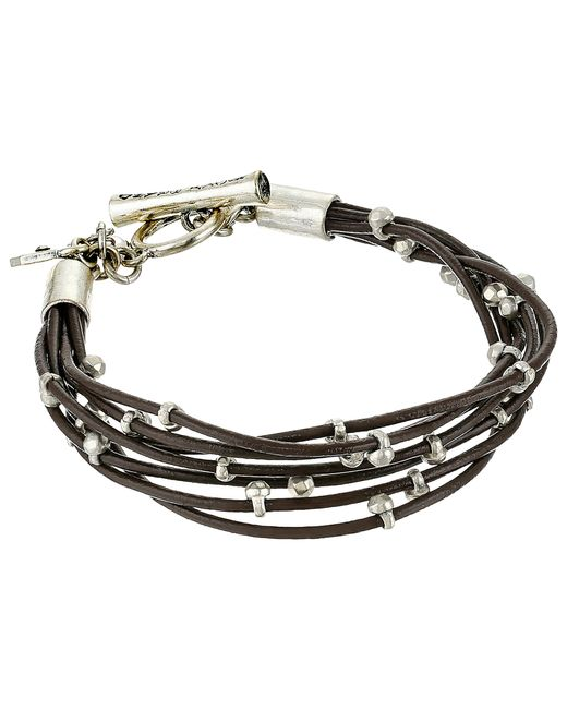 Lucky Brand | Metallic Silver Leather Bracelet | Lyst