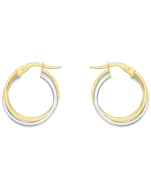 Ib&b | Metallic 18ct Gold Two Colour Double Tube Creole Earrings | Lyst