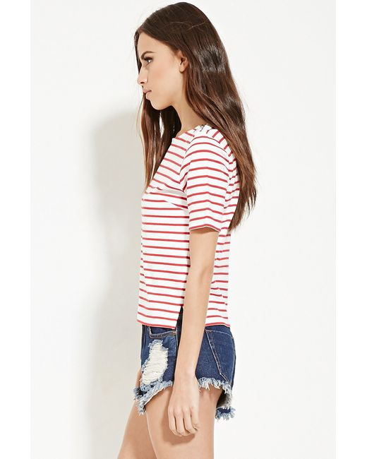 Forever 21 | Red Zip-shoulder Striped Top | Lyst