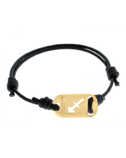 Tateossian | Zodiac 18k Yellow Gold Sagittarius Black Waxed Cord Bracelet for Men | Lyst