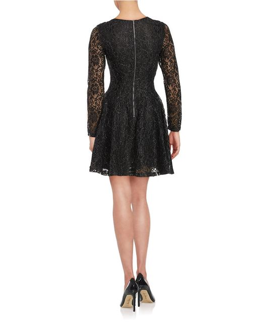 lord taylor floral lace dress in black save 63 lyst