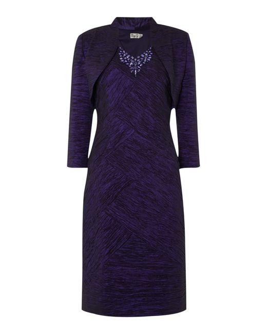 Eliza J | Purple Crushed Taff Dress With Jacket | Lyst