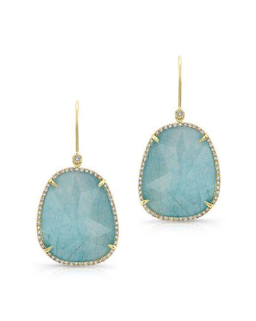 Anne Sisteron | Metallic 14kt Yellow Gold Blue Apatite Diamond Earrings | Lyst